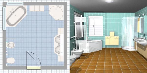 agencement salle de bain en 3d